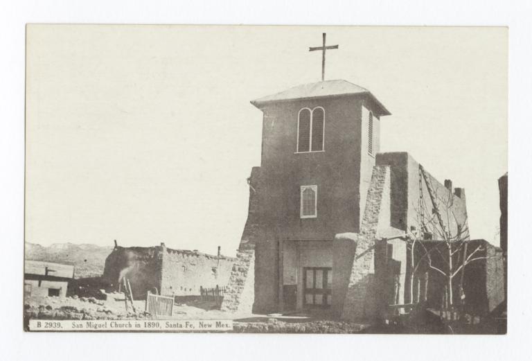 San Miguel Church in 1890, Santa Fe, New Mexico