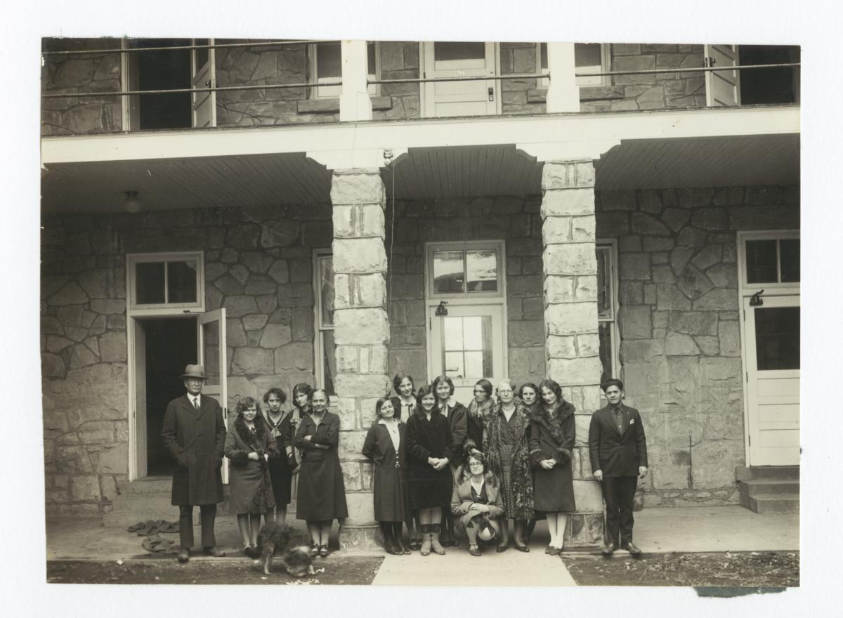Group of People Gathered in front of a Stone Building, Fort Wingate, New Mexico