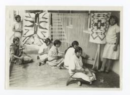 Girls Weaving Navajo Rugs at Fort Wingate, New Mexico