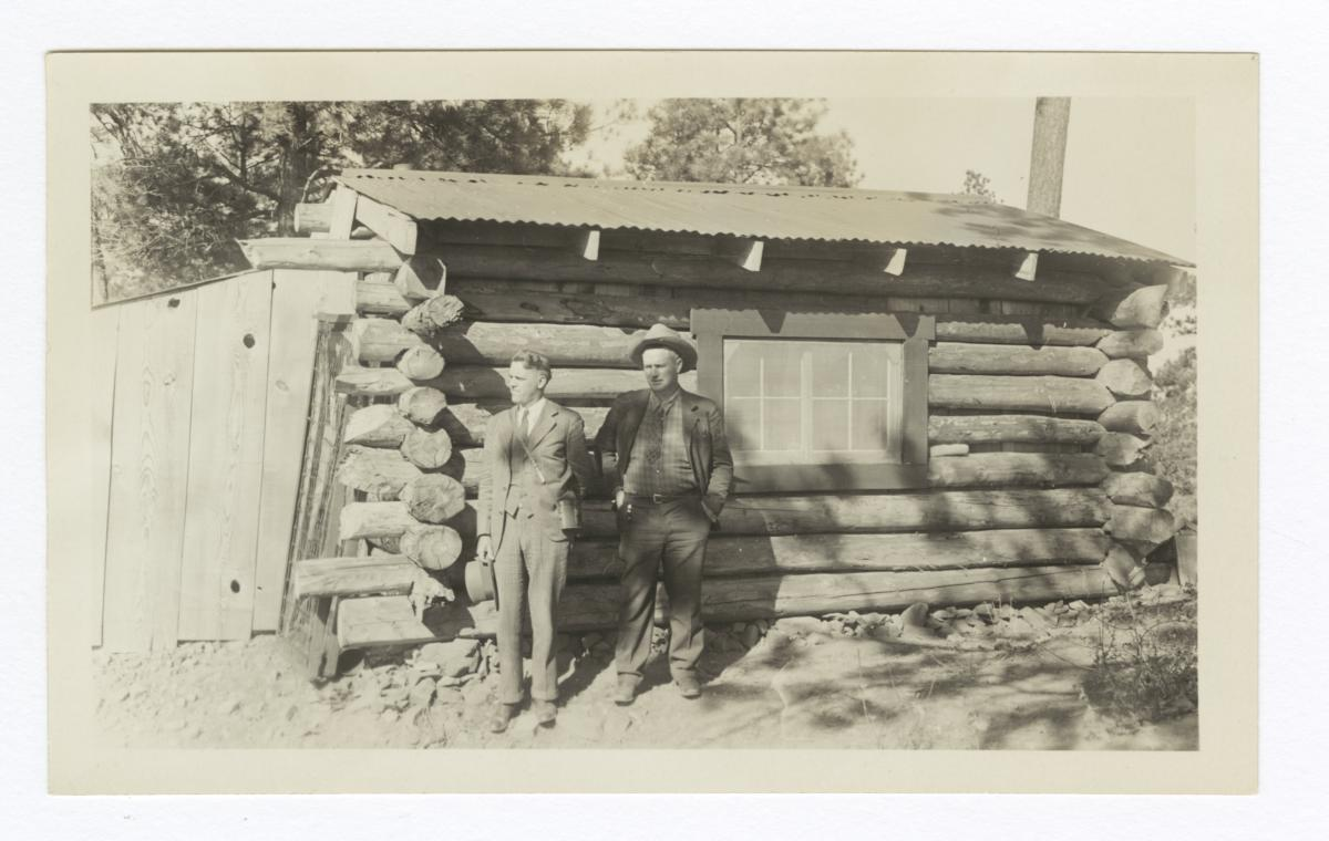 Messrs Graves and Lindquist at Wirt Lookout Forestry Cabin, Dulce, New Mexico