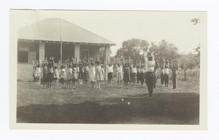 Girls Indian School Group Exercises