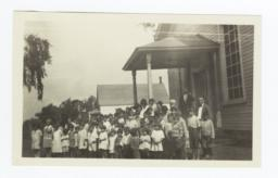 Indian School, Children Gathered on Steps of Building, New York