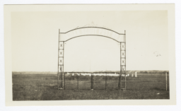 """Framed Cemetary Gate, Barely Visable Title on Gate Reads """"Indian Scout Post No. 1"""""""