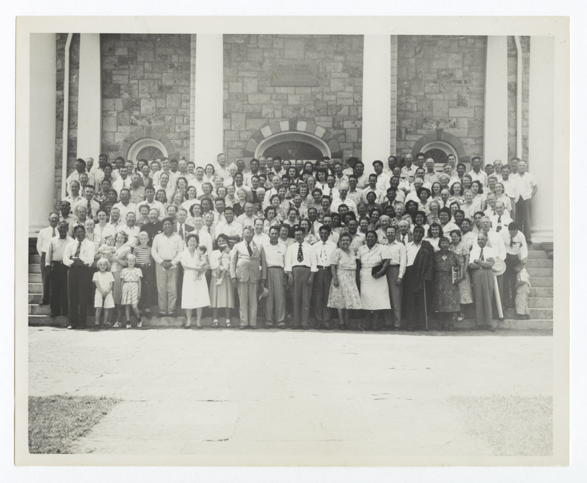 Large Group Standing on Steps before Bacone College, Oklahoma