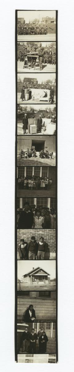 Contact Sheet of 11 Images of People, Buildings, or Farm Animals