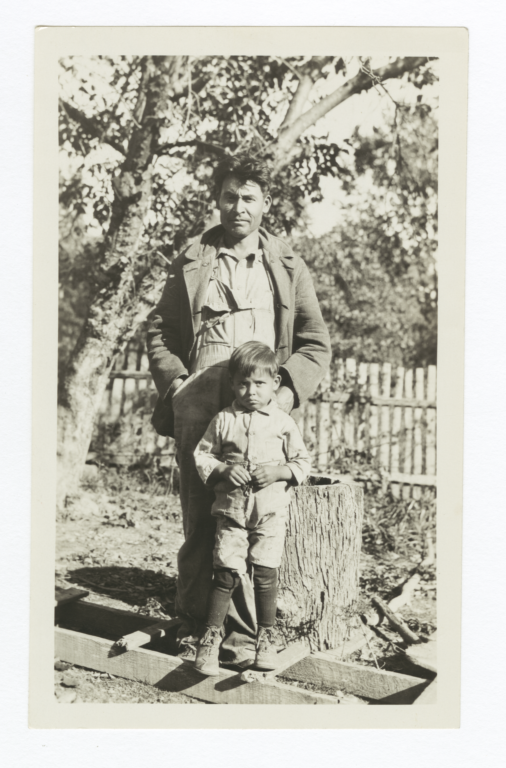 Riley Scott and Son Posed Standing on a Wooden Ladder, Cherokee County, Oklahoma
