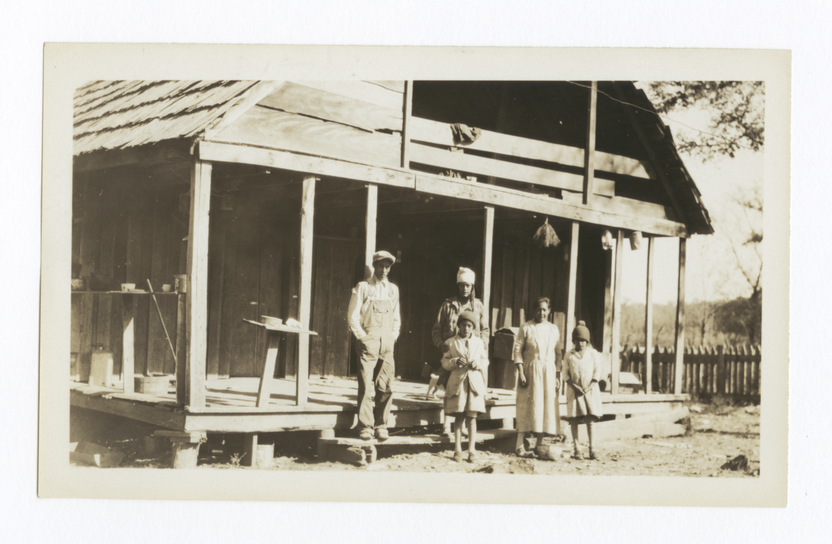 Boy, Girls and Woman Posing in front of a House with an Overhead Loft, Cherokee County, Oklahoma