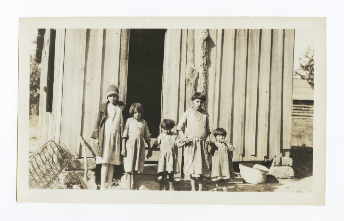 Five American Indian Children Posing in front of Small Building, Cherokee County, Oklahoma