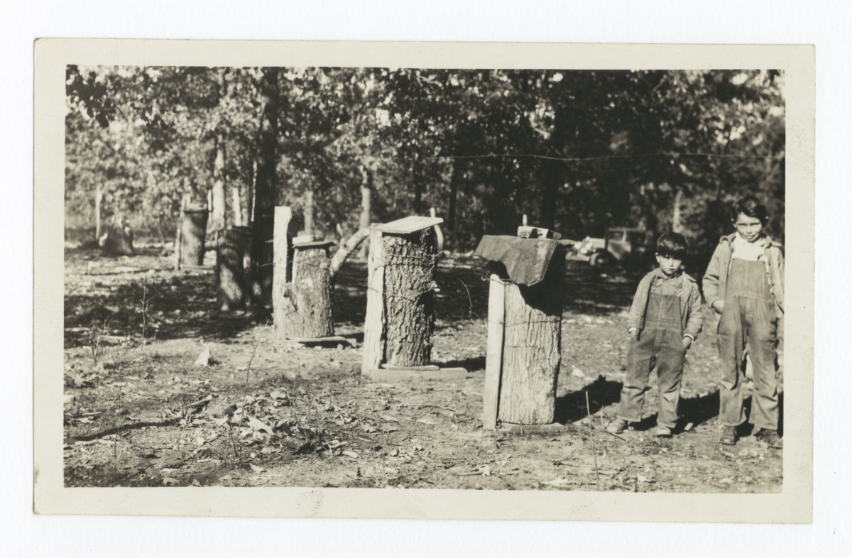 Two Young Boys alongside a Row of Old Style Bee Hives, Cherokee County, Oklahoma