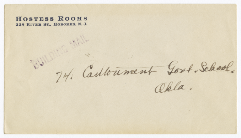 Envelope for Photo (1167) and Negative (1168) of Cantonment Government School, Oklahoma