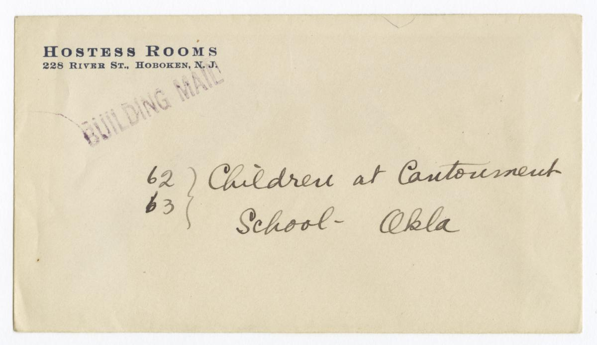 Envelope for Negatives (1170 and 1171) of Cantonment School, Oklahoma