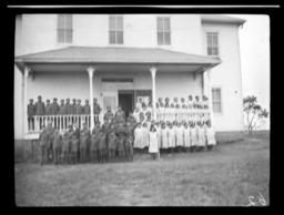 Children Posing in front of Cantonment School, Oklahoma