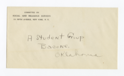Envelope for Negative (1188)  of Student Group, Bacone, Oklahoma