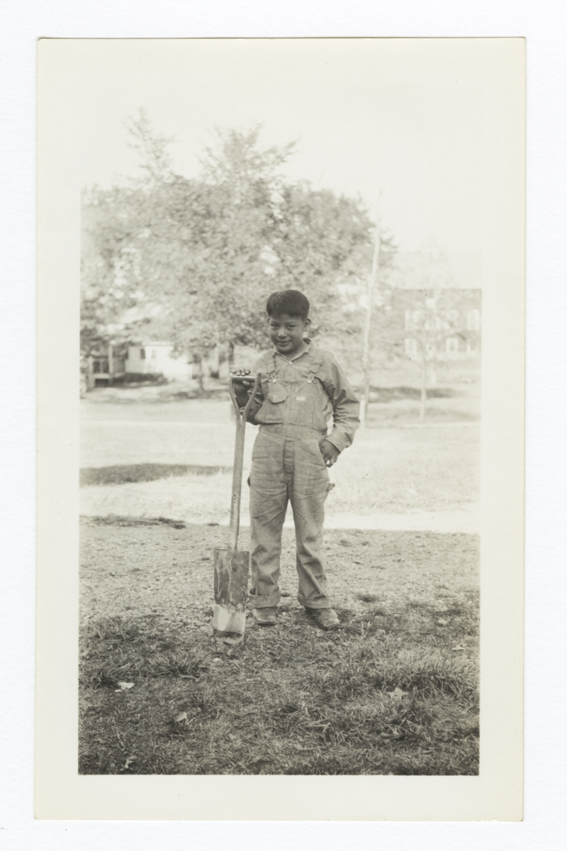 American Indian Boy with Shovel