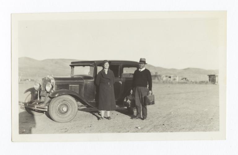 Levi and Mrs. Rouillard with Car in Cherry Creek, South Dakota