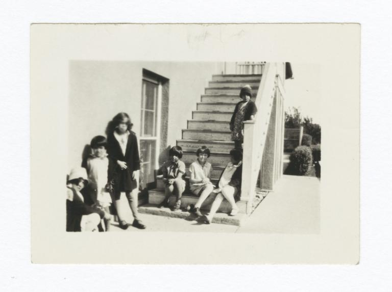 American Indian Girls on Steps of Bloomfield Academy, Oklahoma