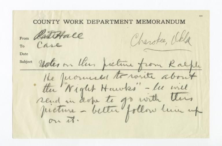 Note from R.D. Hall about Solicitation for Information about Photograph of Night Hawks (Item 1213)