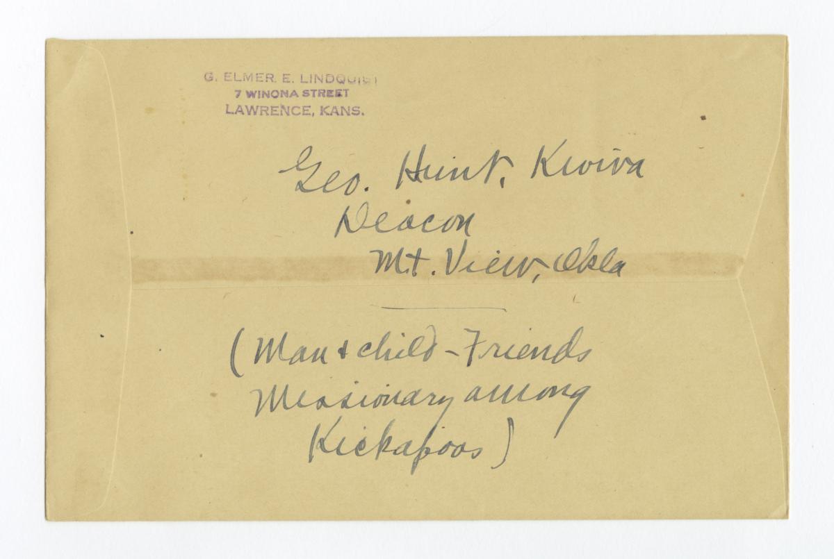 Envelope for Negative (1218) of George Hunt, Kiowa Deacon, Mountain View, Oklahoma