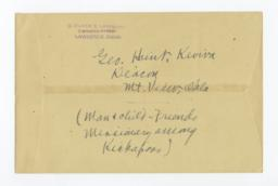 Envelope for Negative (1218) of George Hunt, Kiowa Deacon, Mountain View, Oklahoma