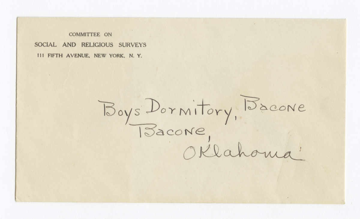 Envelope for Photo (1222), Boys Dormintory, Bacone, Oklahoma