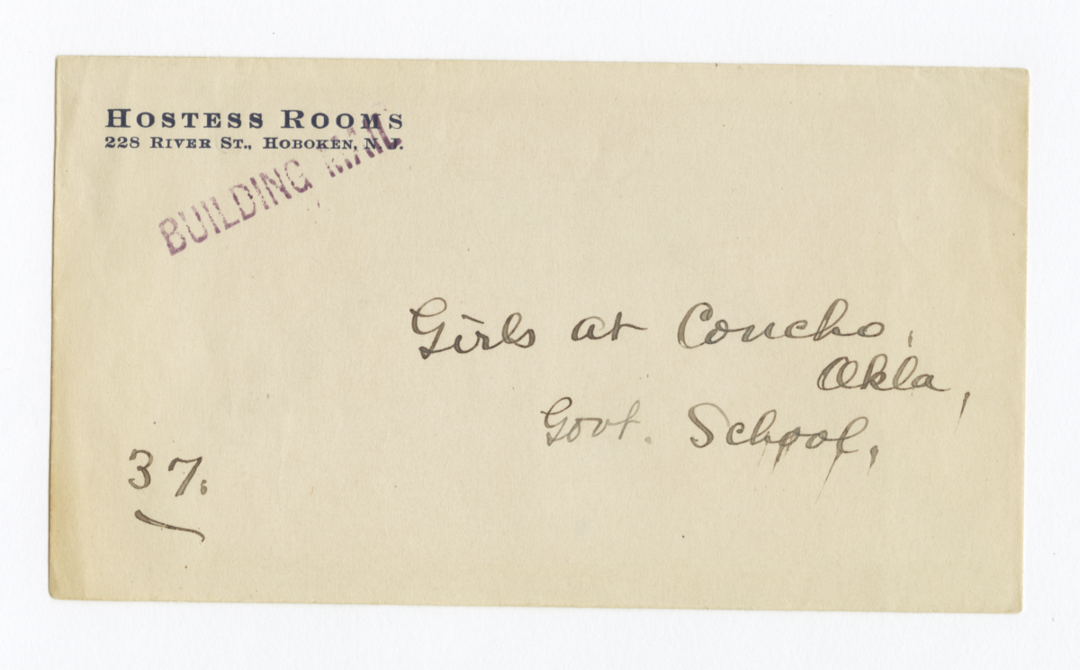 Envelope for Negative (1251) of Girls at Government School, Concho, Oklahoma