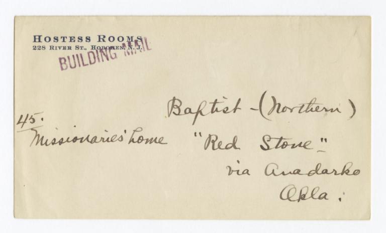Envelope for Photo (1267) and Negative (1268) of Baptist Mission, Anadarko, Oklahoma