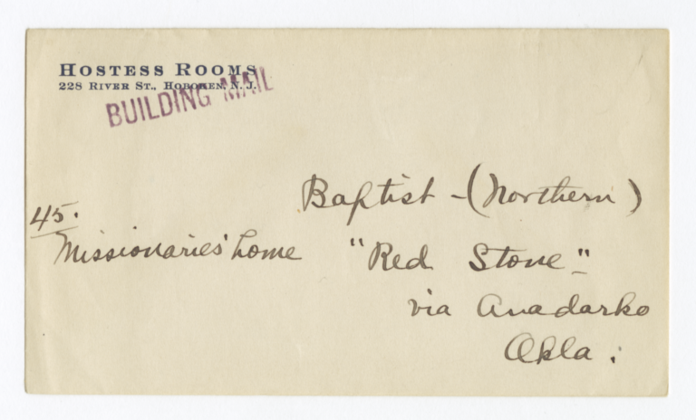 Envelope for Photo (1267) and Negative (1268) of Baptist Mission, Anadarko, Oklahoma