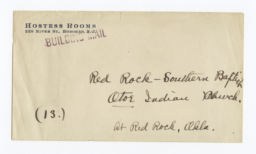 Envelope for Photo (1287) and Negative (1288) of Southern Baptist Church, Red Rock, Oklahoma