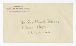 Envelope for Negatives (1293, 1294, 1295, 1296, 1297) of the Goodland School, Hugo, Oklahoma