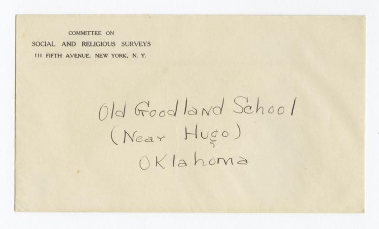 Envelope for Negatives (1293, 1294, 1295, 1296, 1297) of the Goodland School, Hugo, Oklahoma