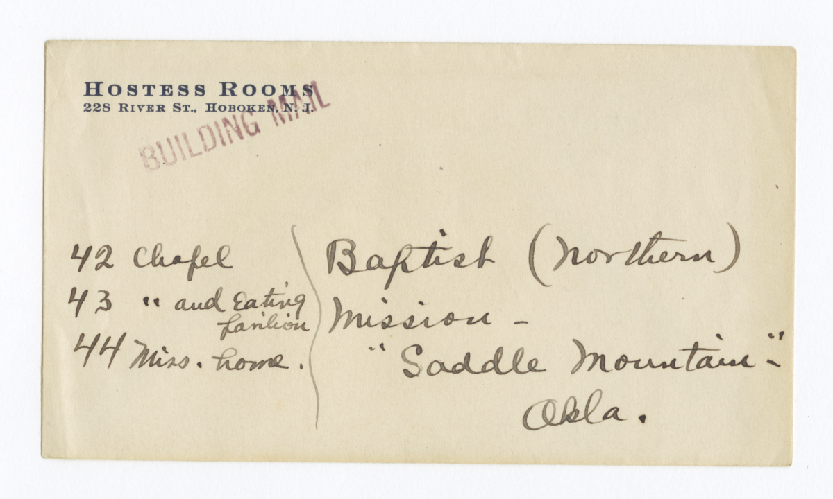 Envelope for Negatives (1299, 1300, 1301) of Baptist Mission, Oklahoma