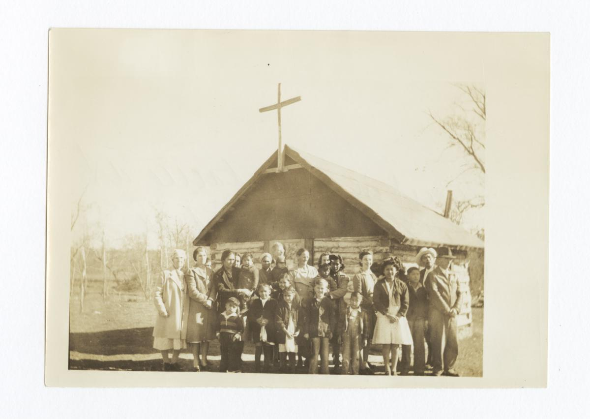 Group at Cave Springs Indian Chapel, Reverend Geo. W. Smith, Missionary