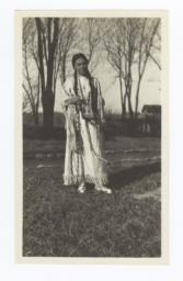 Mrs. Mary W. Roe Wearing Traditional Indian Dress, Colony, Oklahoma