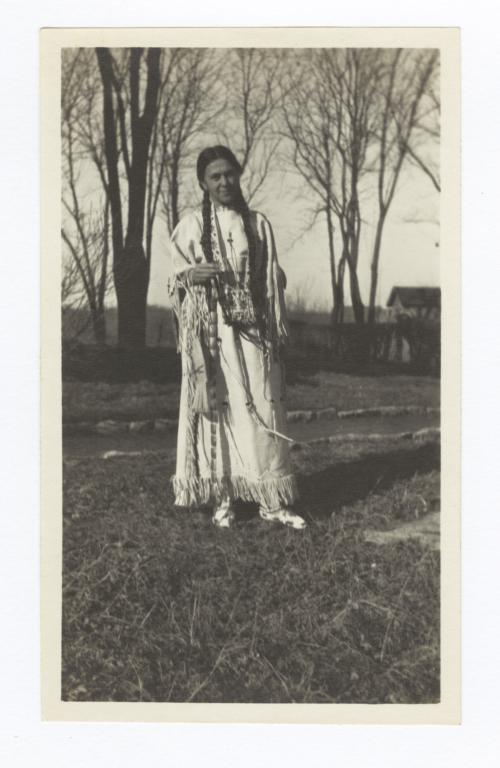 Mrs. Mary W. Roe Wearing Traditional Indian Dress, Colony, Oklahoma