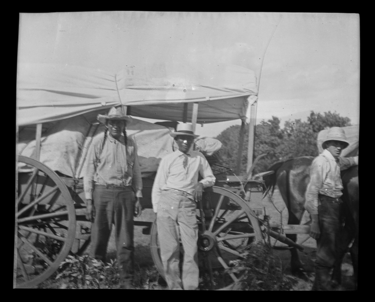 Wautan and William Fletcher with a Horse Drawn Wagon, Colony, Oklahoma