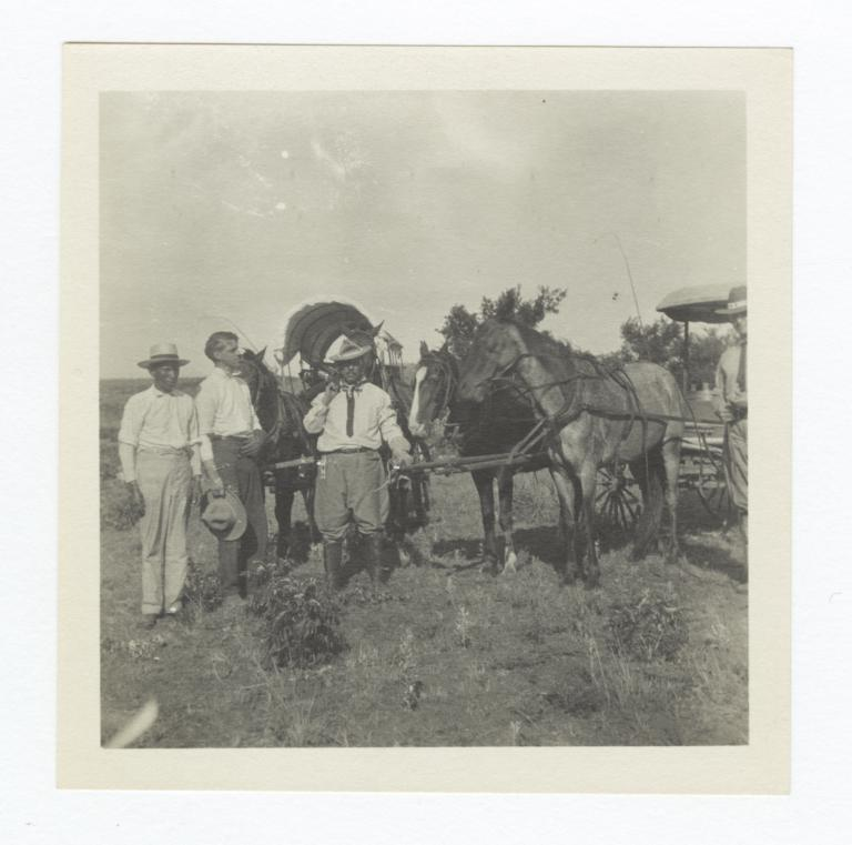 G.E.E. Lindquist with Three Men and Horse Carriages