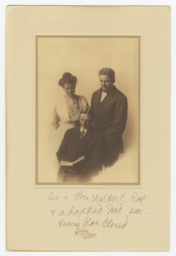 Family Portrait of Reverend and Mrs. Walter C. Roe and Adopted Son, Henry Roe Cloud