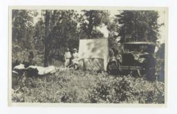 Two Women with Tent and Car in Forest, White Tail, New Mexico