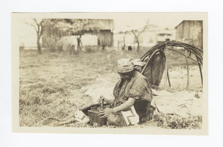Wasco Indian Woman with Mortar and Pestle, Oregon