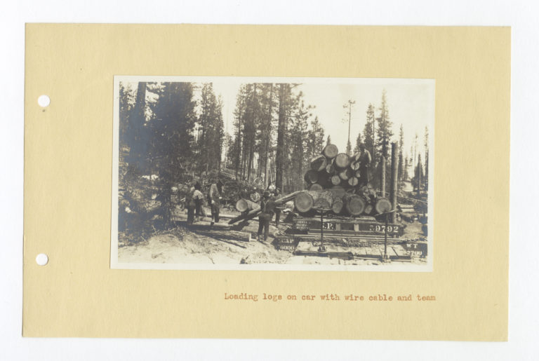 Loading Logs on Car with Wire Cable and Team, Oregon