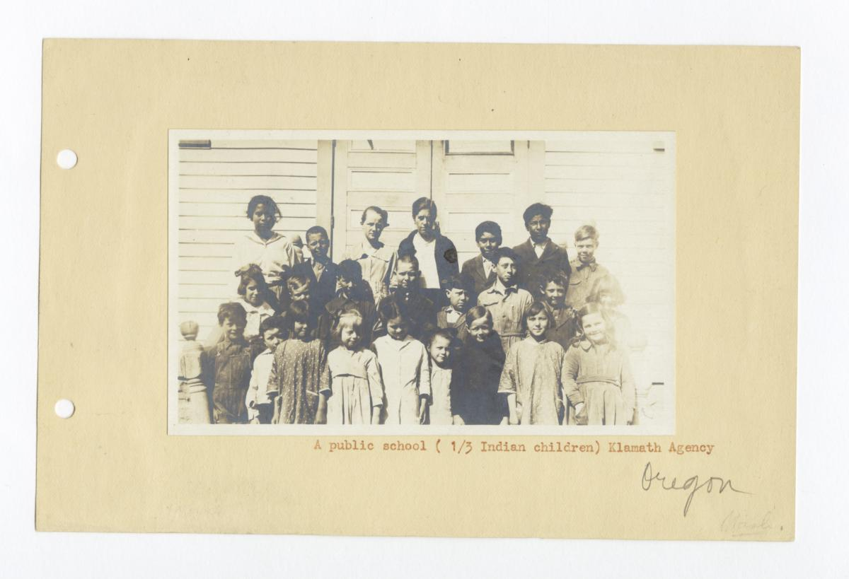 Group of Public School Children and Their Teacher from the Klamath Agency