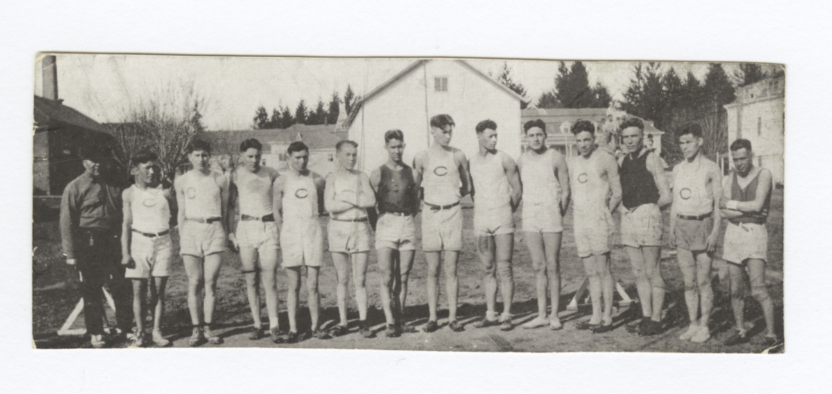 Line of Young Men in Shorts and Team Tee Shirts, Oregon