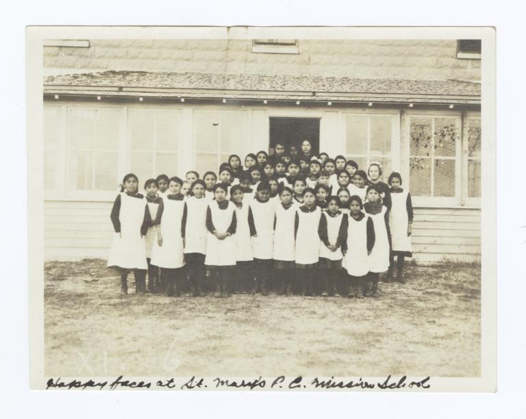 Girls at St. Mary's P.E. Mission School, Rosebud Reservation, South Dakota