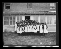 Girls at St. Mary's P.E. Mission School, Rosebud Reservation, South Dakota