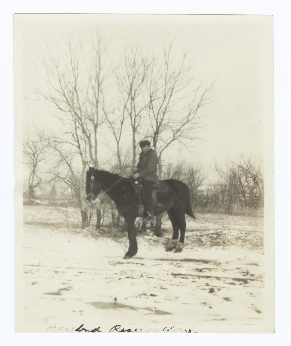 Jesse Standing Buffalo on Horseback, Rosebud Reservation, South Dakota