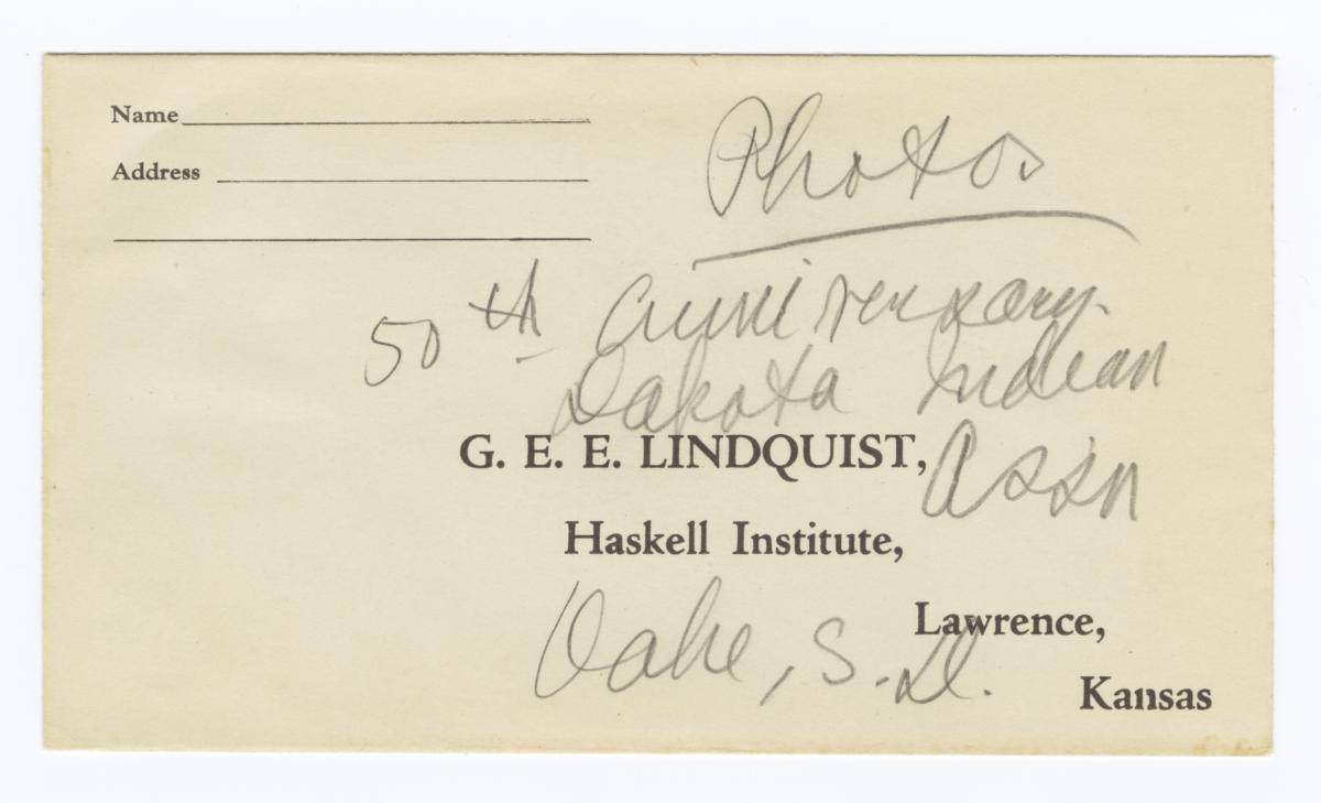 Envelope for Photos (1614-1619), 50th Anniversary of Dakota Indian Association, Oahe, South Dakota