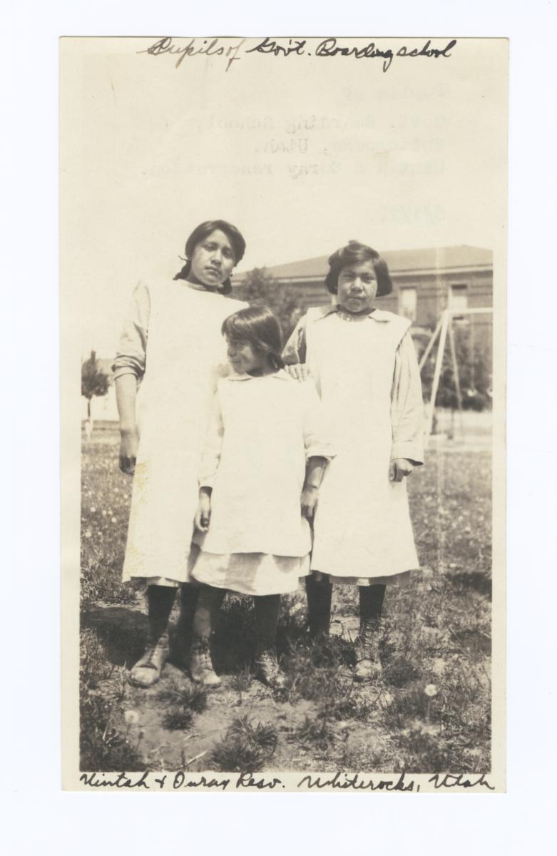 Three Girls, Pupils of Goverment Boarding School, Uintah and Ouray Reservation, Whiterocks, Utah
