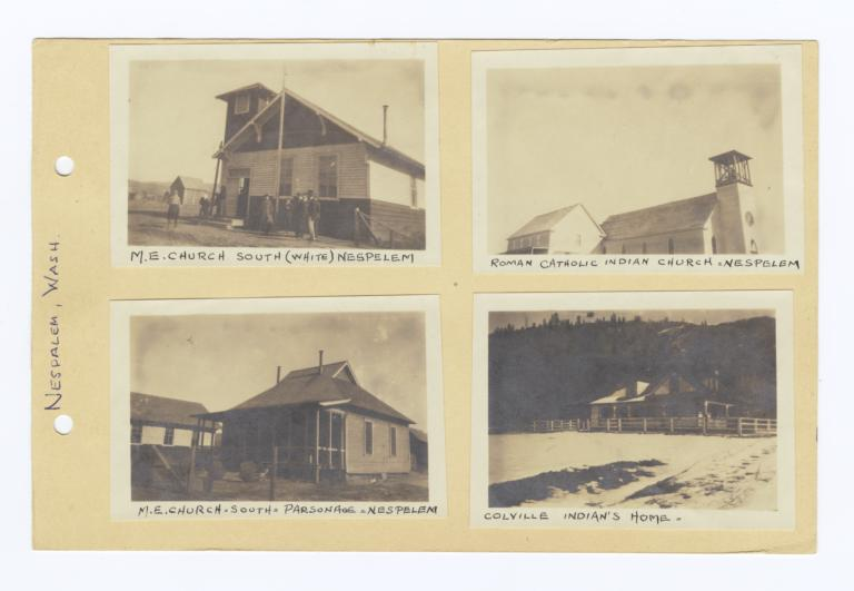 Four photographs showing churches and homes in nespelem for American home builders washington