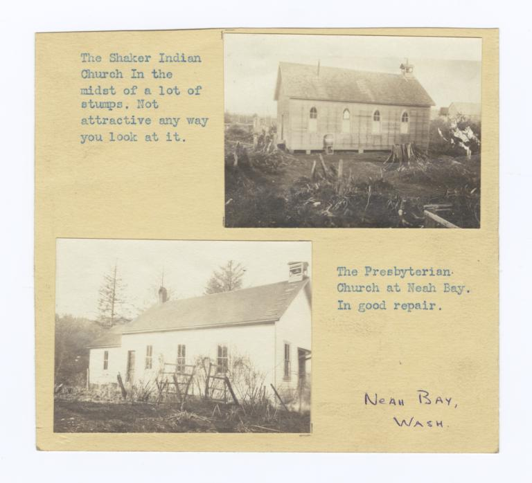 Photograph Album Page Showing Shaker and Presbyterian Churches in Neah Bay, Washington