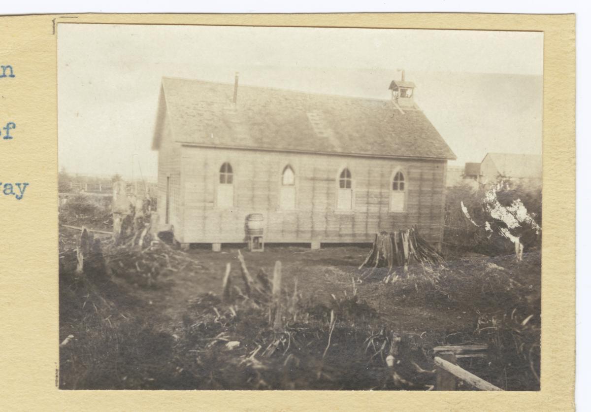 Shaker Indian Church Surrounded by Tree Stumps, Washington